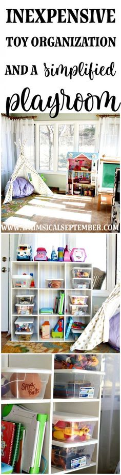 Inexpensive toy organization and a simplified playroom: Click here to read about the steps and very minimal things needed to declutter and organize the toys in your house once and for all. Whether you have a playroom or not, these tips for quick organization will not only help you feel like you have some control over the clutter, but your kids will also play better with what they have (hint: it's because they'll have less!). Click here to read more. | Whimsical September #cluttercontrol