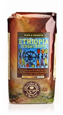 Ethiopia Yirgacheffe  Today, from the birthplace of coffee, we offer Ethiopian Yirgacheffe, picked by hand on a farm in the mountains high above the town of Sidamo. There, the coffee beans are washed, and then soaked up to 72 hours in fermentation tanks. This wet process method produces intensely flavorful beans, with an intensely floral aroma, and mellow, smooth taste.   $13.95