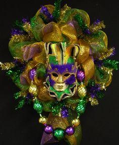 Mardi Gras Mask Wreath Mardi Gras Decor Poly by wreathsbyrobin