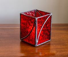 """Stained Glass Votive Candle Holder Red """"Swirl of Love"""""""