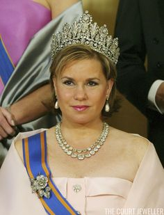 Grand Duchess Maria Teresa of Luxembourg wears the Luxembourg Empire Tiara at a state banquet in The Hague, 24 April 2006