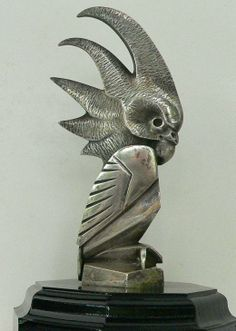 Radiator Mascot. Gaston Bourcart  Cactoes Height 140 mm Silver-plated bronze. France