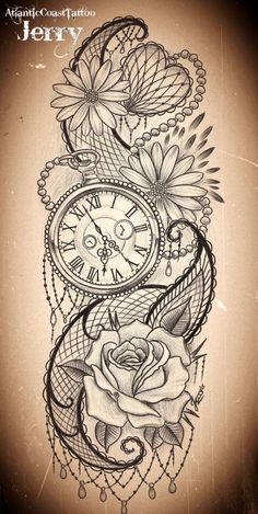 Tatto Ideas 2017 pocket watch and flowers tattoo design idea...