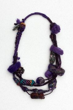 Dark purple felted necklace, Fiber statement jewerly, OOAK