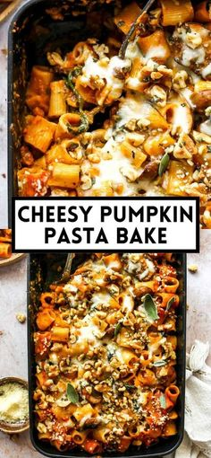 Cheesy pumpkin pasta bake with mushrooms, spinach, creamy pumpkin tomato sauce, and buttery walnut-sage topping. The ultimate fall pasta dish! #pumpkinpasta #bakedpasta #pumpkinrecipes #fallrecipes