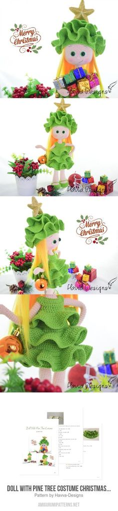 Doll With Pine Tree Costume Christmas Decoration Amigurumi Pattern
