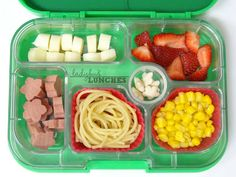 Ladybug Lunches: Spaghetti Lunch packed in a Yumbox...For more creative ideas for school lunches visit https://www.facebook.com/SchoolLunchIdeas