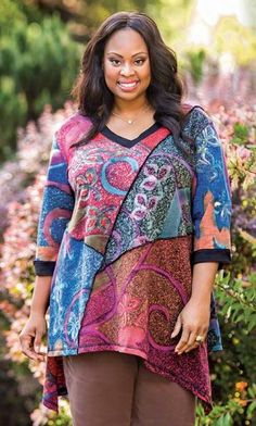 Laurel Patchwork 3/4 Sleeve Tunic | Plus Size Fashion For Women | Fall Style