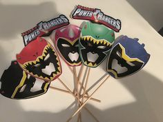 Power rangers centerpieces by ChicDesignsByMay on Etsy