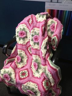 This pattern was originally published with a Woman's Day kit in 1984 Its called A Blanket of Roses Afghan. I found the Free written pattern here at this link http://megan.cc/RosesBlanket/pattern.html There are Crochet Graph Charts of the Octagon and square too if you scroll down to the bottom of the pattern for those that are more visual. I love those graph chart helps (>‿◠)✌