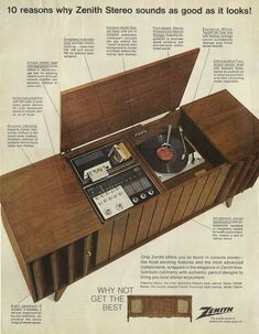 Zenith stereo system, 1967 This was our Record Player My Childhood Memories, Sweet Memories, Vintage Advertisements, Vintage Ads, Vintage Stuff, Vintage Decor, Radios, Home Music, Record Players