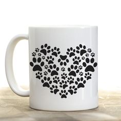 High Tide Mugs Heart Dog Paw pet love black and white Ceramic Coffee or Tea mug cup -- Tried it! Click the image. : Coffee Mugs Dog Grooming Shop, Cheap Pets, Diamond Dogs, Dog Lover Gifts, Lovers Gift, Dog Lovers, Pet Cage, Best Dog Breeds, Animal Decor