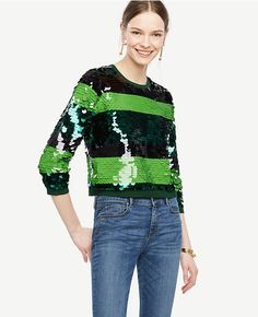 Primary Image of Striped Sequin Sweater