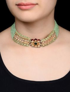 Buy Green Golden Red Sea Choker Necklace Metal Alloy Semi Precious Stone Cotton Thread Jewelry Fashion Tales of Tradition Gold Tone Necklaces in Colorful Stones Online at Jaypore.com