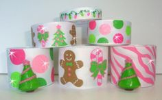 12Y+ RESIN GLITTER GINGERBREAD TREES CANDY CANE PINK GROSGRAIN RIBBON MIX 4 BOW    eBay