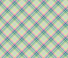Pastel Diagonal Plaid in Turquoise, Teal, Minty Green and Yellow fabric by maryyx on Spoonflower - custom fabric