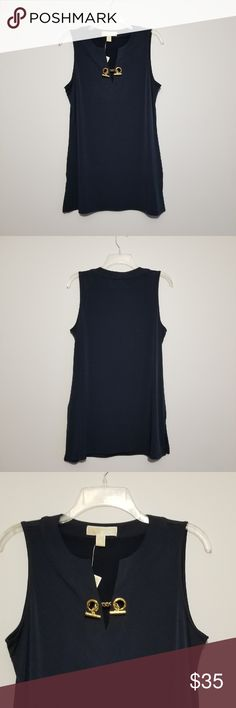 Michael Kors Tank Navy Michael Kors tank with gold chain on front. Very comfortable and stretchy material. Anti wrinkle material. Can be dressed up or worn casual. NWT and smoke free home! Michael Kors Tops Blouses