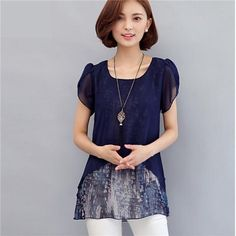 [EBay] Women Blouses And Shirts 2017 Summer Short Sleeve Fashion Faux Two Piece Chiffon Blouse Plus Size Ladies Tops Puff Sleeve Shirt