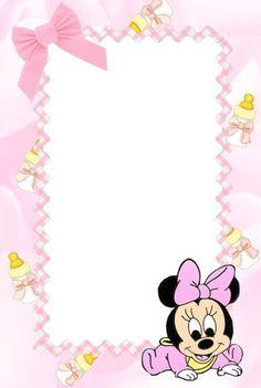 Nicole Vi invita a festeggiare Il suo battesimo Minnie Mouse Baby Shower, Baby Mouse, Mickey Minnie Mouse, Baby Shower Invitations, Birthday Invitations, Minnie Mouse Pictures, Baby Frame, Baby Shawer, Baby Album