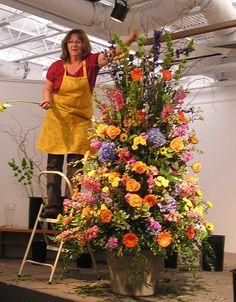 floral arrangements | Lisa Weise atop large floral arrangement
