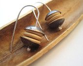 Wood, Brass and Silver Earrings by GeckoJ on Etsy. October 2012 marks the 6 year anniversary of the EtsyMetal Team. Use the coupon code: EtsyMetal6 to save in many of our shops!