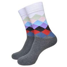 Colorful Medium Height Happy Feet Fashion Men Socks (US5.5-9.5)