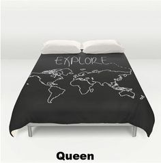 Explore World Map Duvet Cover and Comforter  2 Styles  2 by ForgetSundayDrives Adventure. Adventurer. Wander. Wanderlust. Travel. Traveler. Jetsetter. Vagabond. USA. Earth. Gifts for her. Gifts for him. Dorm Room Decor. Arrows. Black and White. Wall Art. Europe. Australia. Canada. North America. South America. Asia. Italy. Black and White. Map. World Map. Map Outline. Home Decor. Decor. Bedroom. Bedding. Bedroom Decor. Kids Room. Childs Room. Babies Room. Adult Room.