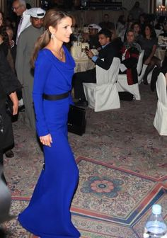 Queen Rania Of Jordan wearing a dress from AW/10 collection