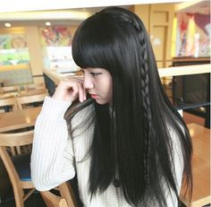 Hey, I found this really awesome Etsy listing at https://www.etsy.com/listing/190188203/natural-black-dark-brown-full-bang-and