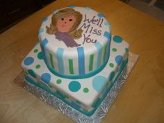 Going away Cake - Marshmallow covered yellow and chocolate cakes, marshmallow fondant for everything else except the hair, scarf, words. Going Away Cakes, Marshmallow Fondant, Chocolate Cakes, Scarf Hairstyles, Yellow, Desserts, Food, Tailgate Desserts, Deserts