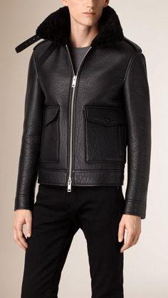 Shearling Trim Lambskin Aviator Jacket in Black - Men Best Leather Jackets, Men's Leather Jacket, Shearling Jacket, Leather Men, Jacket Men, Burberry, Men's Coats And Jackets, Outerwear Jackets, Salopette Jeans