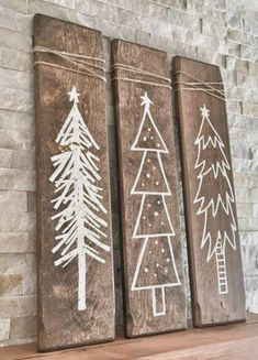 Christmas tree wood planks Christmas decor is part of House decor Christmas - Sold as a set of 3 These planks measure inches They are beautifully rustic Perfect for any decor type They come as pictured On a walnut stained plank with white trees Christmas Tree Painting, Christmas Tree Crafts, Noel Christmas, Rustic Christmas, All Things Christmas, Winter Christmas, Holiday Crafts, Christmas Music, Christmas Movies