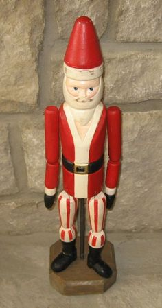 SANTA CLAUS*Wood Jointed Carved Figurine/Statue*Vintage Style*Primitive Decor in Antiques, Primitives | eBay