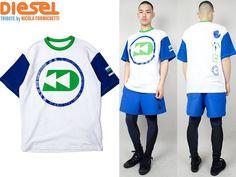 NWT Diesel Mens Sz L Tribute Aquahollic Sporty Diver White T-Shirt Rubber Print #DIESEL #GraphicTee