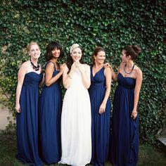 dark blue mismatched bridesmaid dresses long