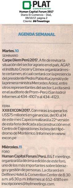 B&Tmeetings: Human Capital Forum 2017 en el diario El Comercio - Día1 de Perú (09/10/2017)