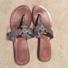 Tory Burch Miller Sandal Tory Burch Miller Sandal! Worn maybe once or twice in excellent condition. Size 8 pewter color. Make an offer! Tory Burch Shoes Sandals