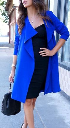 Royal blue drape front coat with a black pencil dress and a quilted handbag! If you like my pins, please follow me and subscribe to my fashion channel on youtube! It's free! Let me help u find all the things that u love from Pinterest! https://www.youtube.com/channel/UCCP8TXebOqQ_n_ouQfAfuXw