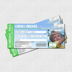 Personalized Birthday Party AIRPLANE BOARDING PASS Invitations - great for a going away party too!