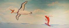 Grappige zee schildering: garnaal die aan het watersporten is met een albatros. Ontwerp en schildering door BIM Muurschildering.   shrimp and albatros mural painting