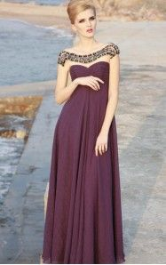A-line Floor-length Scoop Purple Dress