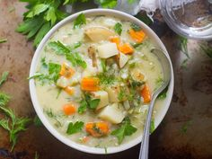 Creamy potato soup is simmered up with tangy dill pickles, tender veggies, and fresh dill to create this vegan dill pickle potato chowder.