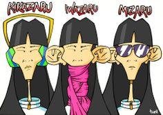 """""""Kikazaru + Iwazaru + Mizaru"""" Ilustración a lápiz y tinta, coloreada con Photoshop."""