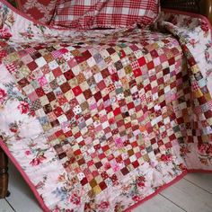 Beautiful Red Postage Stamp Quilt ~