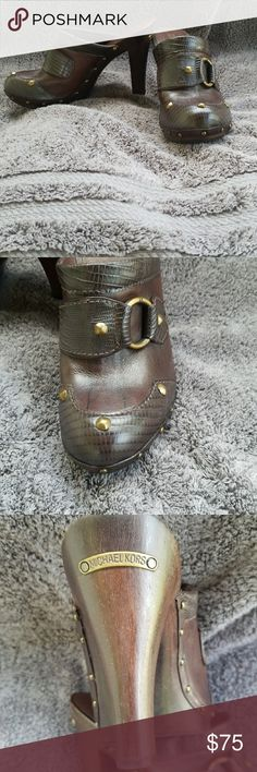 Women's US 8.5 Michael Kors 4 Inch Heels Great condition because they've only been worn a couple of times. They are gold studded leather 4 inch heels by Michael Kors. Michael Kors Shoes Heels