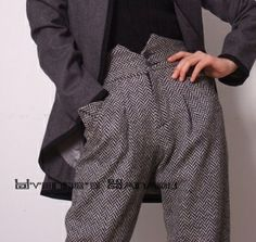 Grey Checked Tweed High Waisted Trousers