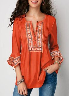 bc17f7164866e SPU:MM8SH568BB1 Sleeve Type:3/4 Sleeve Material:Cotton,Polyester Neckline:V  neck Occasion:Holiday Style:Casual Theme:Spring/Fall,Summer Color:Orange  Size:S ...