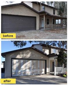 "This Florida home was featured on an episode of the A Network TV show ""Fix This Yard"". The many exterior upgrades include a new Clopay Coachman Collection steel and composite carriage house style garage door, reinforced for wind load resistance. www.clopaydoor.com."