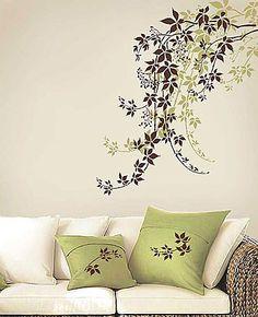 Cutting Edge Stencils - Virginia Creeper Stencil. $39.95. See more Flower and Vine Stencils: http://www.cuttingedgestencils.com/stencils-flower-stencil.html >> #flowerstencils #vinestencils