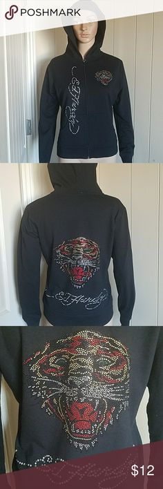 Ed Hardy Zip Up Hoodie Black hoodie with rhinestone tigers. Price reduced due to some missing rhinestones. Size large but runs small Ed Hardy Tops Sweatshirts & Hoodies
